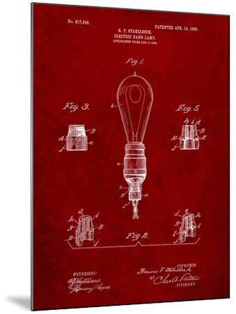 Large Filament Light Bulb Patent-Cole Borders-Mounted Art Print
