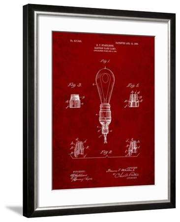 Large Filament Light Bulb Patent-Cole Borders-Framed Art Print