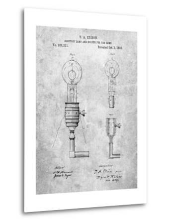 T. A. Edison Light Bulb and Holder Patent Art-Cole Borders-Metal Print