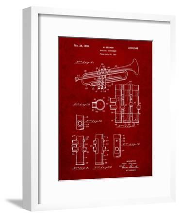 Trumpet Instrument Patent-Cole Borders-Framed Art Print