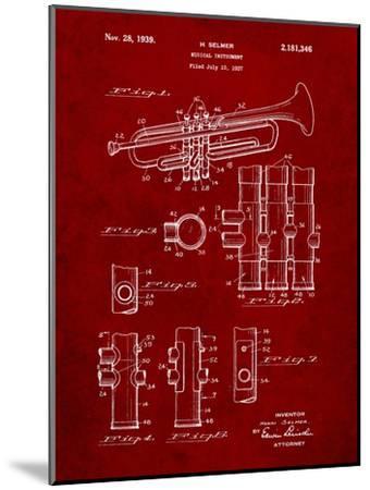 Trumpet Instrument Patent-Cole Borders-Mounted Art Print