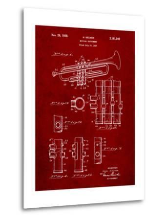 Trumpet Instrument Patent-Cole Borders-Metal Print