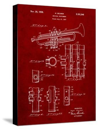 Trumpet Instrument Patent-Cole Borders-Stretched Canvas Print