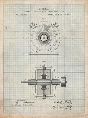 Tesla Alternating Current Generator-Cole Borders-Framed Art Print
