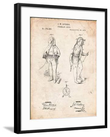 Firefighter Suit 1876 Patent Print-Cole Borders-Framed Art Print
