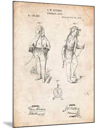 Firefighter Suit 1876 Patent Print-Cole Borders-Mounted Art Print
