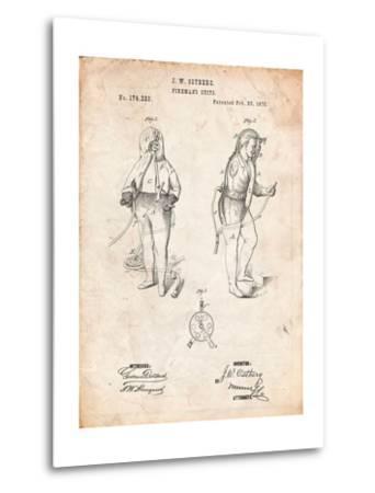 Firefighter Suit 1876 Patent Print-Cole Borders-Metal Print