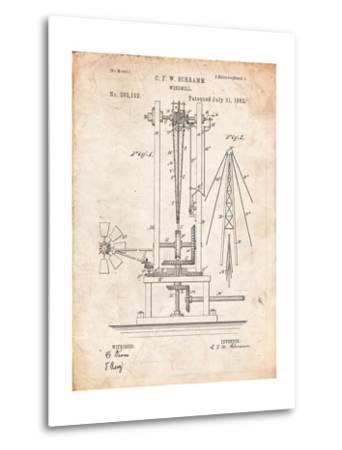 Windmill Patent-Cole Borders-Metal Print