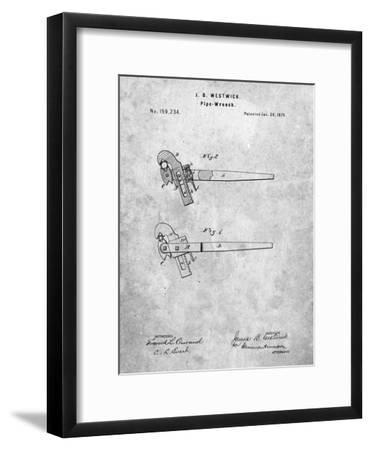 Pipe Wrench Tool Patent-Cole Borders-Framed Art Print
