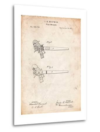 Pipe Wrench Tool Patent-Cole Borders-Metal Print
