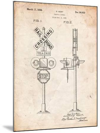 Railroad Crossing Signal Patent-Cole Borders-Mounted Art Print