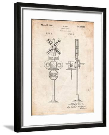 Railroad Crossing Signal Patent-Cole Borders-Framed Art Print