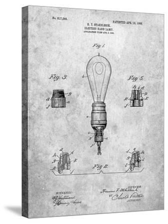 Large Filament Light Bulb Patent-Cole Borders-Stretched Canvas Print