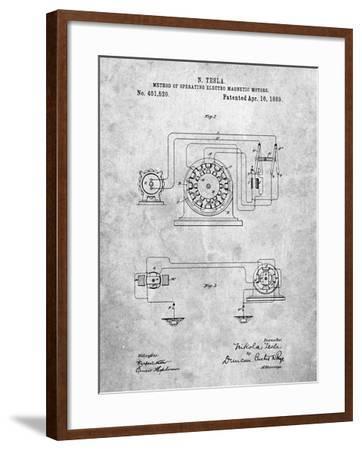 Tesla Operating Electric Motors Map-Cole Borders-Framed Art Print