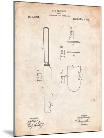 Dinner Knife Patent-Cole Borders-Mounted Art Print
