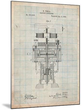 Tesla Electric Generator-Cole Borders-Mounted Art Print