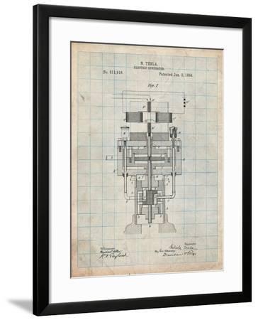Tesla Electric Generator-Cole Borders-Framed Art Print