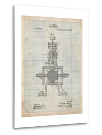 Tesla Steam Engine Patent-Cole Borders-Metal Print