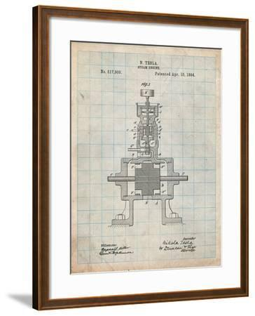 Tesla Steam Engine Patent-Cole Borders-Framed Art Print