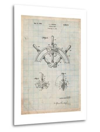 Ship Steering Wheel Patent-Cole Borders-Metal Print