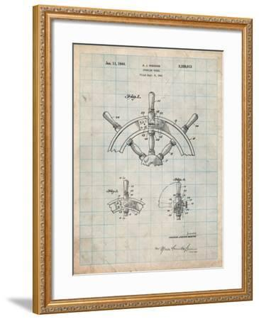 Ship Steering Wheel Patent-Cole Borders-Framed Art Print