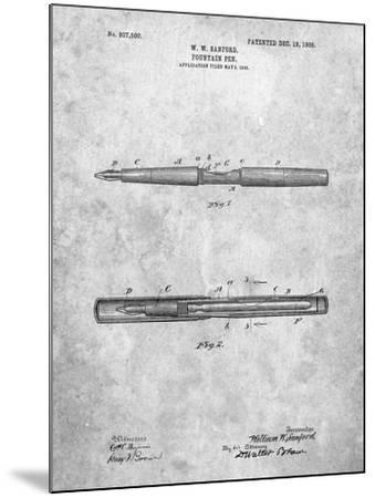 Sanford Fountain Pen 1905 Patent-Cole Borders-Mounted Art Print