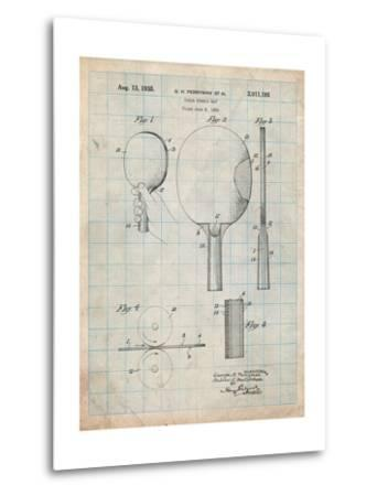 Ping Pong Paddle Patent-Cole Borders-Metal Print