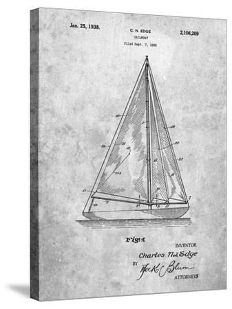 Sloop Sailboat Patent-Cole Borders-Stretched Canvas Print