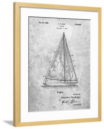 Sloop Sailboat Patent-Cole Borders-Framed Art Print