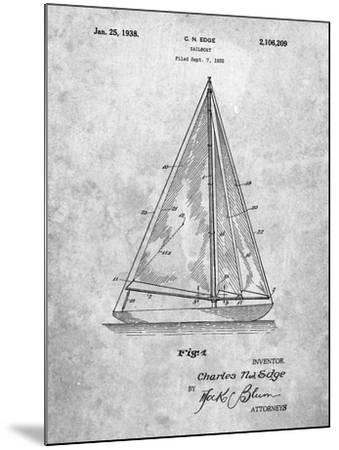 Sloop Sailboat Patent-Cole Borders-Mounted Art Print