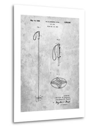 Ski Pole Patent-Cole Borders-Metal Print