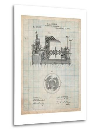 Edison Electrical Generator Patent Art-Cole Borders-Metal Print