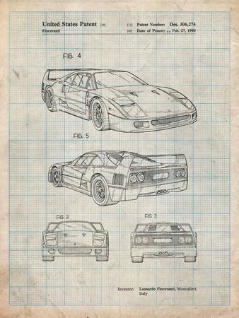 Ferrari 1990 F40 Patent-Cole Borders-Framed Art Print