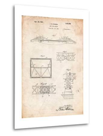 Golden Gate Bridge Patent, Long Span Bridge-Cole Borders-Metal Print