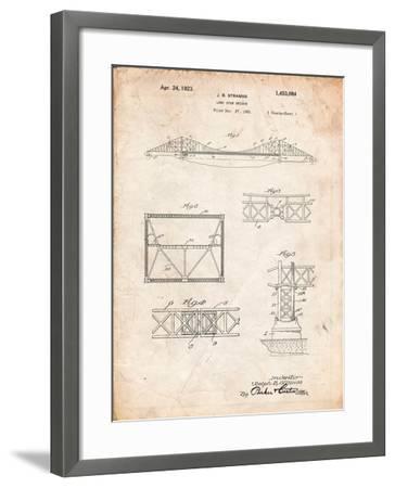 Golden Gate Bridge Patent, Long Span Bridge-Cole Borders-Framed Art Print