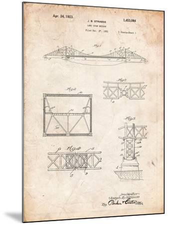Golden Gate Bridge Patent, Long Span Bridge-Cole Borders-Mounted Art Print