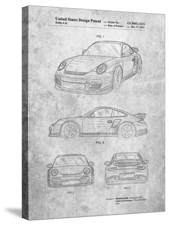 Porsche 911 with Spoiler Patent-Cole Borders-Stretched Canvas Print