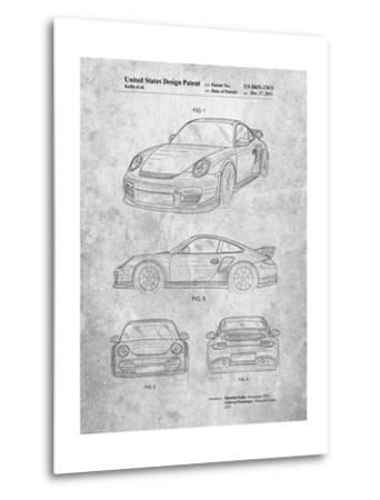 Porsche 911 with Spoiler Patent-Cole Borders-Metal Print