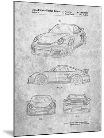 Porsche 911 with Spoiler Patent-Cole Borders-Mounted Art Print