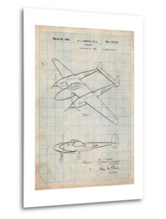 P-38 Airplane Patent-Cole Borders-Metal Print