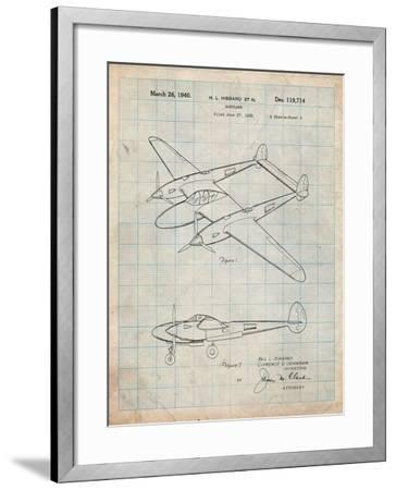 P-38 Airplane Patent-Cole Borders-Framed Art Print