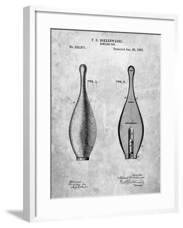 Vintage Bowling Pin Patent-Cole Borders-Framed Art Print