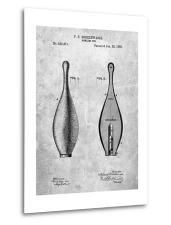 Vintage Bowling Pin Patent-Cole Borders-Metal Print
