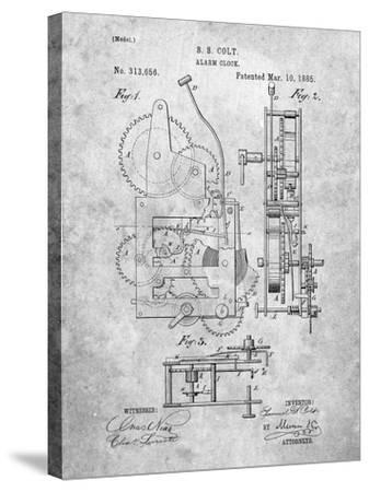 Vintage Alarm Clock Patent 1885-Cole Borders-Stretched Canvas Print