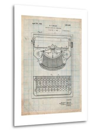 Dayton Portable Typewriter Patent-Cole Borders-Metal Print