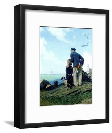 The Stay at Homes (or Outward Bound; Looking Out to Sea)-Norman Rockwell-Framed Giclee Print
