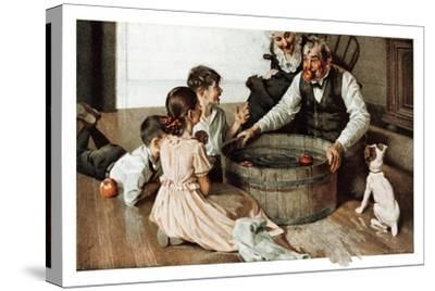 Bobbing for Apples (or Grandfather Bobbing for Apples with his Grandkids)-Norman Rockwell-Stretched Canvas Print