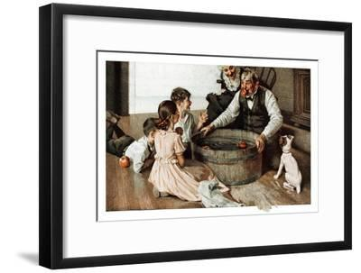 Bobbing for Apples (or Grandfather Bobbing for Apples with his Grandkids)-Norman Rockwell-Framed Giclee Print