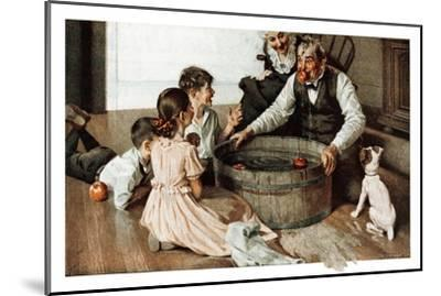 Bobbing for Apples (or Grandfather Bobbing for Apples with his Grandkids)-Norman Rockwell-Mounted Giclee Print