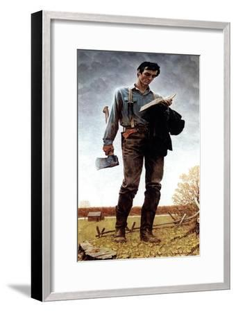 Lincoln the Railsplitter (or Young Woodcutter)-Norman Rockwell-Framed Giclee Print